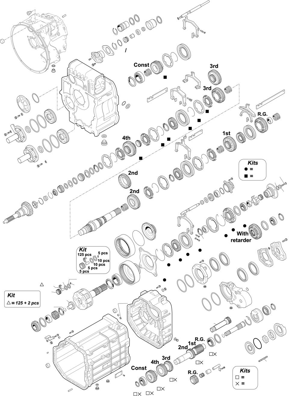 For Gearbox Series: 715.261-400-410-411-520-521 G240-16/11,7-0,69 / 715.260 G240-16/11,7-0,69 EPS CHASSIS: 625/655/656/657/658/659.XXX SK CHASSIS: 930/932/933/934/950/952/953/954.XXX ACTROS